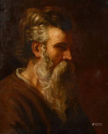 Dans le goût du XVIIe siècle. Portrait d'homme barbu. Huile sur toile (rentoilée). Haut. : 61 c