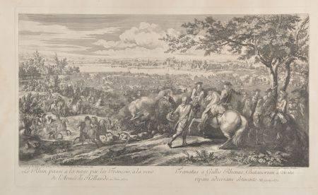 """D'après Adam VAN der MEULEN (1632-1690). """"Le Rhin passé à la nage par les François à la vue de"""
