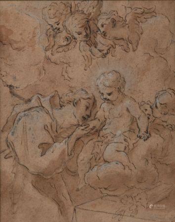 École de la fin du XVIIe siècle. Saint Antoine de Padoue en adoration devant l'Enfant Jésus. La