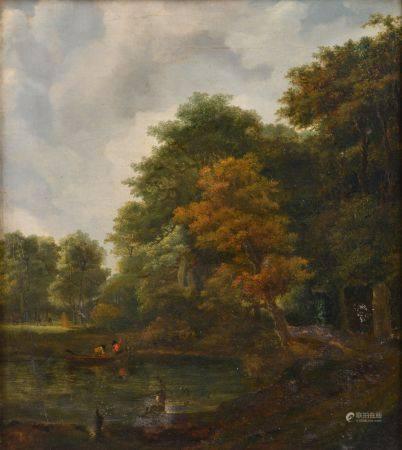 Lazare BRUANDET (1755-1804). Scène de pêche en bord de forêt. Huile sur toile (rentoilée et res