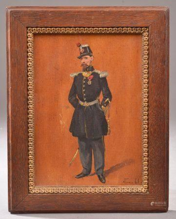 École française du XIXe siècle. Soldat en uniforme. Huile sur panneau signée (?) en bas à droit
