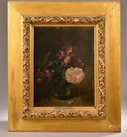 Philippe ROUSSEAU (1816-1887). Bouquet de pivoines. Huile sur panneau signée en bas à gauche (f