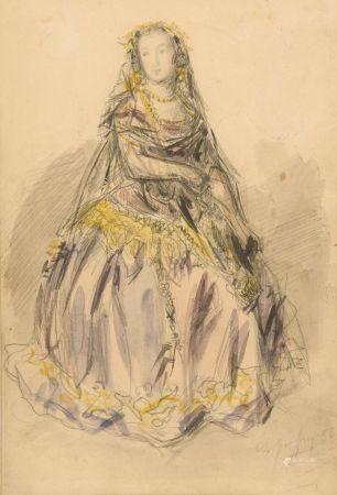 A. GEOFFROY (XIXe-XXe siècle). Portrait d'une élégante en robe violette. Aquarelle et mine de p
