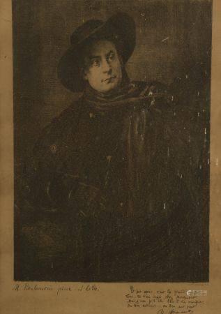 Marcellin DESBOUTINS (1823-1902). Portrait d'Aristide Bruant. Gravure en noir signée et annotée