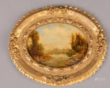École du XIXe siècle. Paysage à la rivière animée d'une barque. Huile sur toile contrecollée su