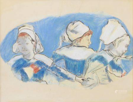 D'après Paul GAUGUIN (1848-1903). Étude de têtes de la ronde des petites bretonnes. Pastel. Hau