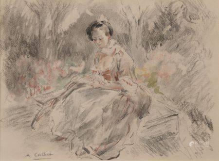 Antoine CALBET (1860-1944). Jeune femme assise à l'éventail. Fusain aquarellé signé en bas à ga