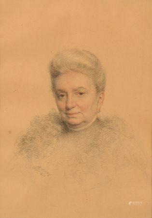 Léon Gérard CREPY (1872-?).  Portrait de femme.  Dessin aux trois crayons, signé et daté 1907 e