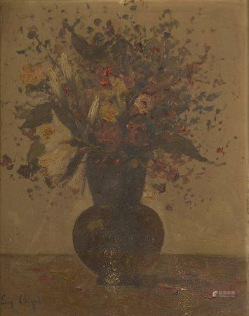 Eugène CHIGOT (1860-1923). Bouquet de fls sur un entablement. Huile sur panneau d'acajou sig