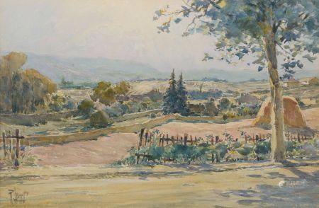 École du XXe siècle. Paysage à la motte de foin. Aquarelle signée (?) en bas à gauche. Haut. :