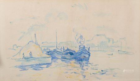 """Charles Albert GUELDRY (1884-1973). """"Port de Grenelle"""". Aquarelle signée et titrée en bas à gau"""