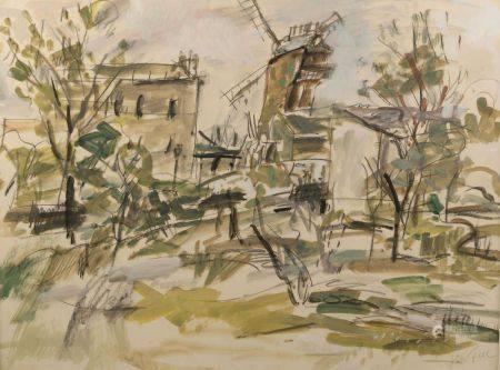 Gen PAUL (1895-1975). Montmartre, le Moulin de la Galette. Gouache signée en bas à droite. Haut