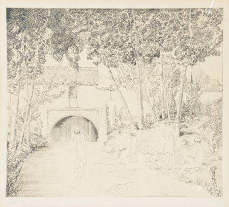 Jean-Émile LABOUR (1877-1943).   Le moulin abandonné.   Eau-forte et burin signée en bas à g