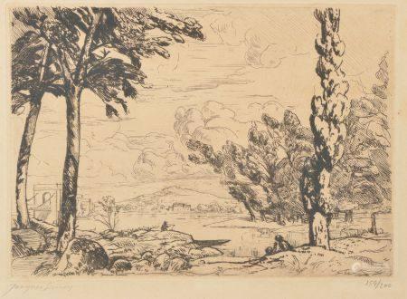 Jacques SIMON (1875-1965).  Pont près de Sancerre.  Eau-forte signée en bas à gauche, numérotée