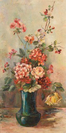 Marcel ABOUGIT (XXe siècle).  Bouquet de roses et géraniums dans un vase bleu.  Huile sur toile