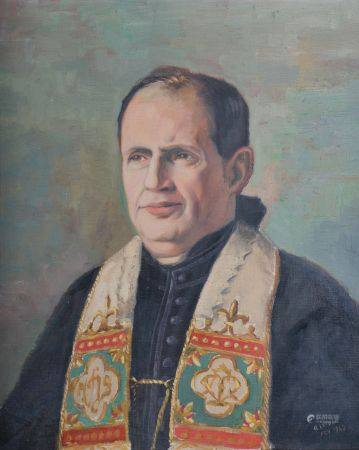 Alexandre LEFORT (1908-1954). Portrait d'un religieux. Huile sur toile signée et datée 1949 en