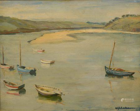 Alfred Jean LALANNE (XXe siècle).  Barques au mouillage en Bretagne. Huile sur toile signée en