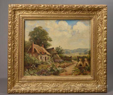 NOIZIÈRE (XXe siècle). Les chaumières. Huile sur toile signée en bas à droite (restauration) Ha