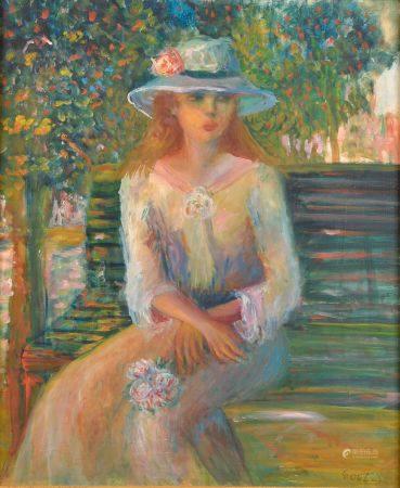 École du XXe siècle. Jeune femme au chapeau sur un banc. Huile sur carton signée en bas à droit
