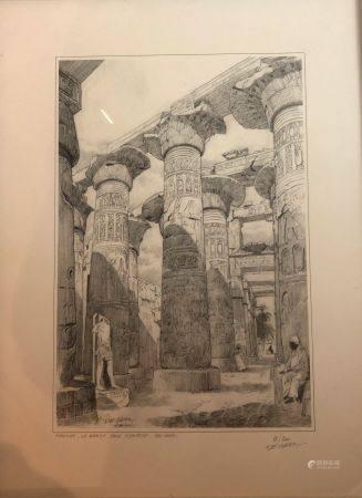 "Lucien DE GIETER (né en 1932). ""Karnak, la grande salle hypostyle, Sud Nord"". Gravure en noir t"