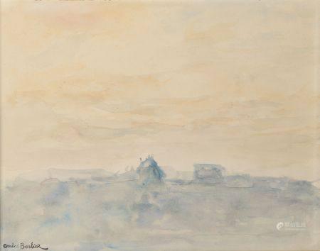 André BARBIER (1883-1970). Paysage jaune et bleu. Aquarelle portant le cachet de la signature e
