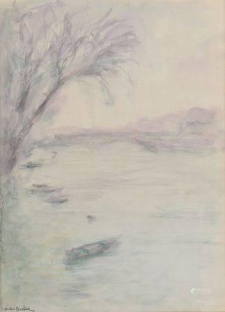 André BARBIER (1883-1970). Barques sur le fleuve. Aquarelle portant le cachet de la signature e