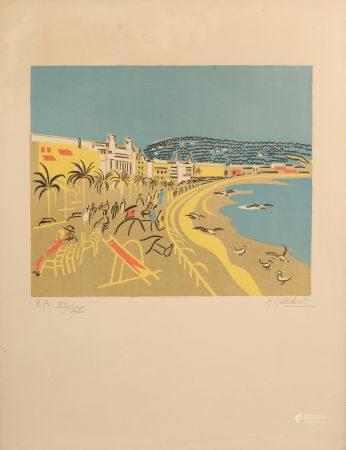 Geneviève Marie GALLIBERT (1888-1978). La baie des Anges à Nice Lithographie signée en bas à dr