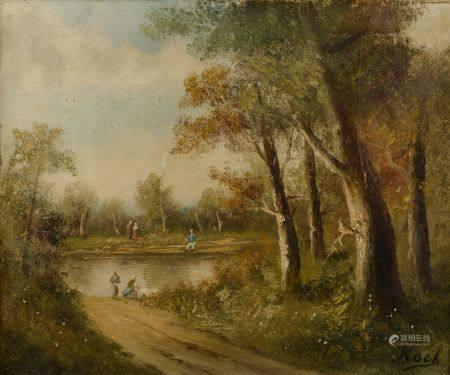 KOCK (XXe siècle). Paysage animé au lac. Huile sur toile signée en bas à droite (restaurations,