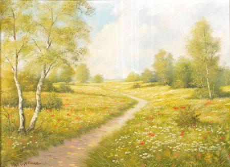 Manfred KAPELLNER (né en 1938).  Paysage printanier.  Huile sur toile signée en bas à gauche.