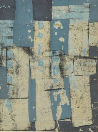 Jean-Marie LEDANNOIS (né en 1940).  Composition en bleu.  Technique mixte signée et datée 1963