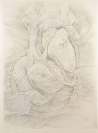 Cécile MÜHLSTEIN (1936-2007). Tête endormie et tête de cheval. Lithographie signée en bas à dro
