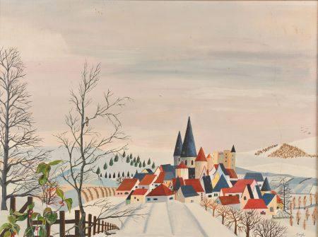CARYL (XXe siècle).   Paysage enneigé.   Huile sur isorel, signée en bas à droite.   Haut. : 46