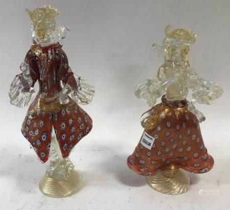 Pair of Red Venetian Glass Figures