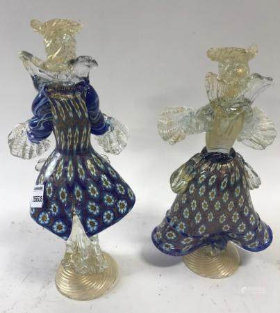 Pair of Blue Venetian Glass Figures