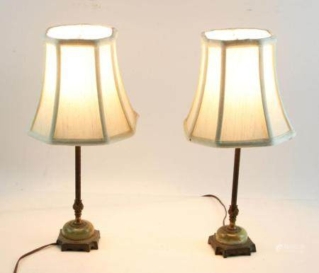 Two Green Marble Lamps