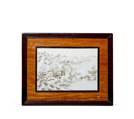 民国 墨彩山水纹瓷板