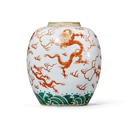 清 雍正 五彩矾红龙纹罐