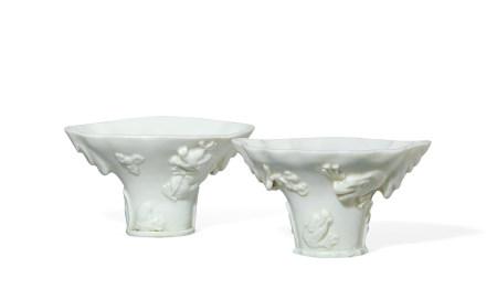 清 德化窑白瓷龙纹杯 一对