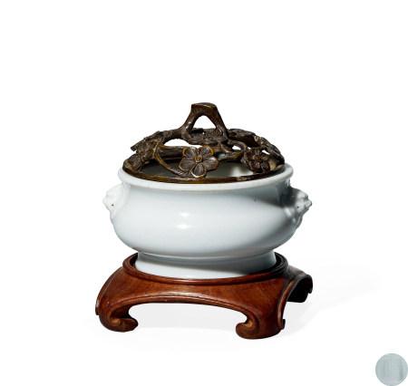 清 早期 德化窑白釉双狮耳炉