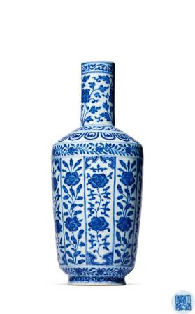 清 道光 青花花卉纹纸槌瓶