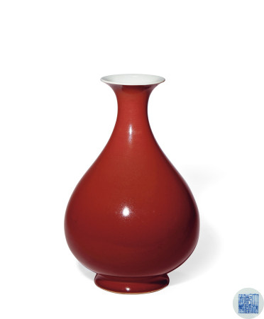 清 乾隆 霁红釉玉壶春瓶