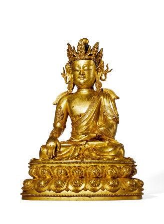 明 中期 铜鎏金宝冠释迦坐佛