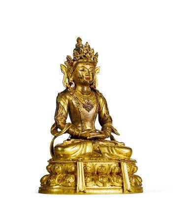 清 康熙 铜鎏金无量寿佛坐像