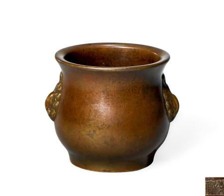 清 早期 铜 天鸡耳簋式炉