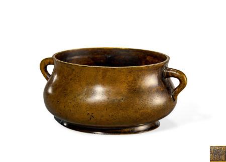 明 铜 蚰龙耳簋式炉