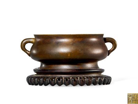 清 早期 铜 蚰龙耳簋式炉