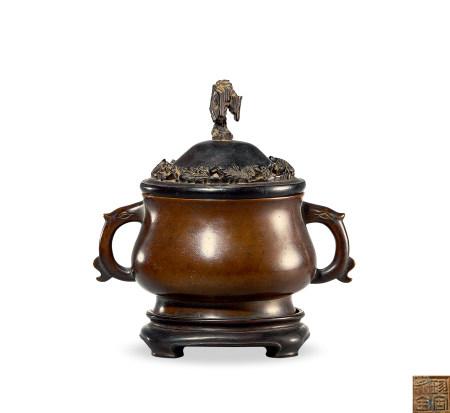 清 早期 铜 夔龙耳簋式炉