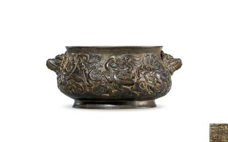 清 铜 龙纹兽耳簋式炉