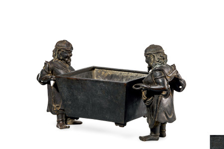 明 铜 胡人献宝方鼎炉