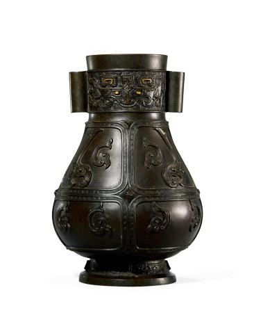 清 早期 铜贯耳瓶